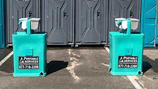 Handwash stations for restroom trailers and portable restrooms.